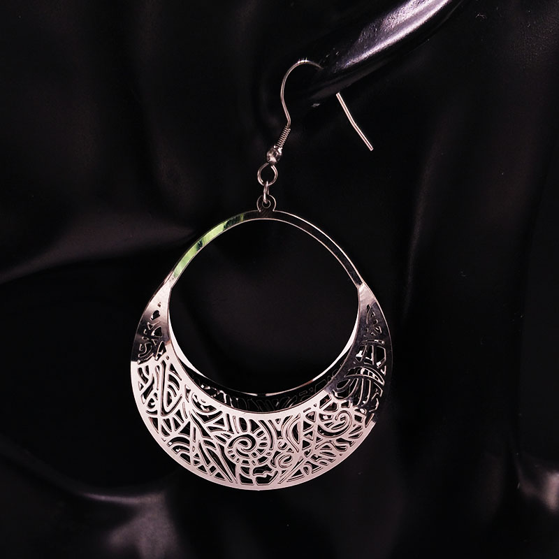 2020 Fashion Big Stainless Steel Drop Earrings for Women Jewelry Silver Color Flower Statement Earrings aretes largos E612333