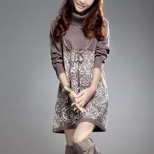 Для женщин свитера модные высокие осенние зимний свитер 2017 Дамы пуловер Женская одежда трикотажные повседневные зимнее платье
