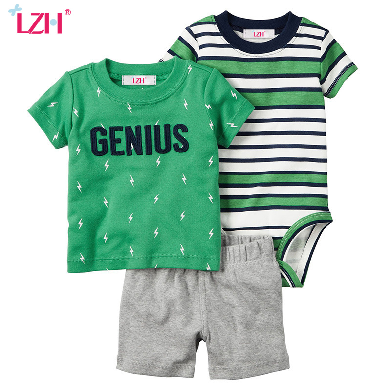 LZH 100 Cotton 2017 New Summer Short Sleeve Newborn Boy Girl Clothes Set Infant Romper T