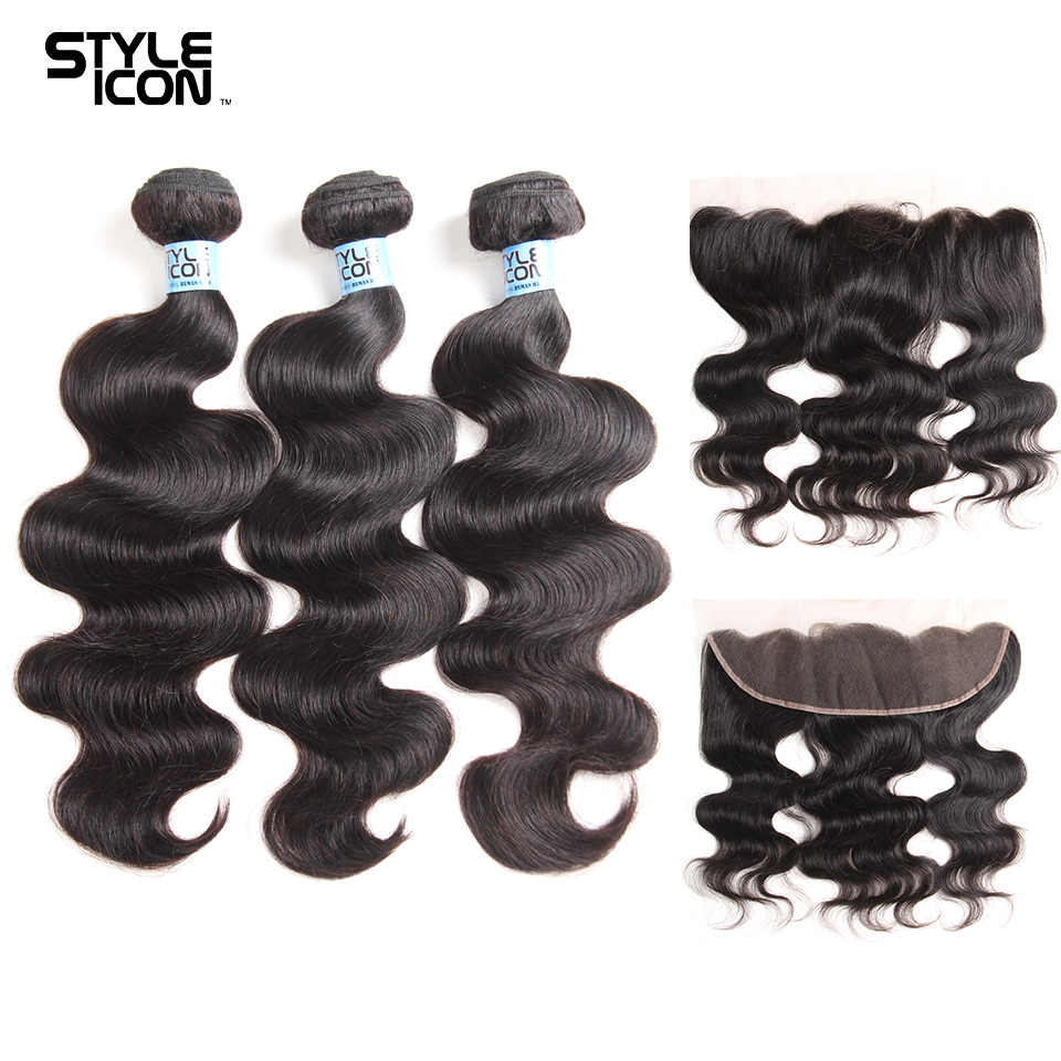 Styleicon Body Wave Bundles With Frontal Human Hair 3 Bundles With Lace Frontal Closure Mongolian 13*4 Frontal With Bundles