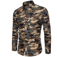 New Arrive 2018 Brand Men Shirt Camouflage Dress Shirt 8 Long Sleeve Slim Fit Camisa Masculina