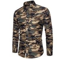 New Arrive 2018 Brand Men Shirt Camouflage Dress Shirt 8 Long Sleeve Slim Fit Camisa Masculina