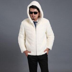 Image 2 - 2018 Новое замшевое пальто мужская приталенная Мужская норковая Меховая куртка с капюшоном и отворотом Мужская куртка большого размера S XXL XXXL 4XL 5XL куртка из искусственного меха