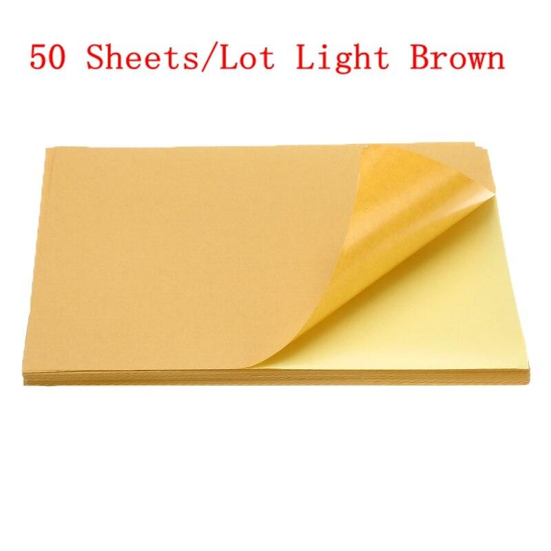 50/100 листа/уп наклейки для ногтей с много A4 глянцевой и матовой крафт клейкая Стикеры для лазерный струйный принтер копир ремесло Бумага самоклеющиеся Стикеры этикетка - Color: 50sheets light brown