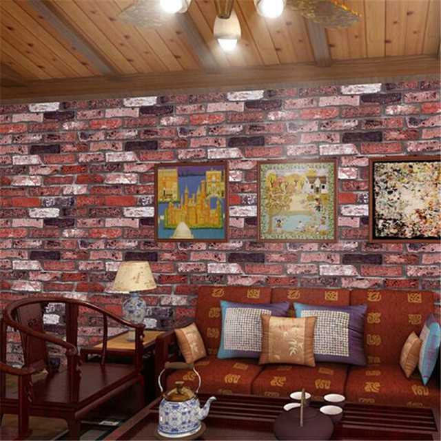 Beibehang Chinese Vintage Imitation Stereo Fake Brick Wallpaper Red Gray TV Background Wall Study Bedroom