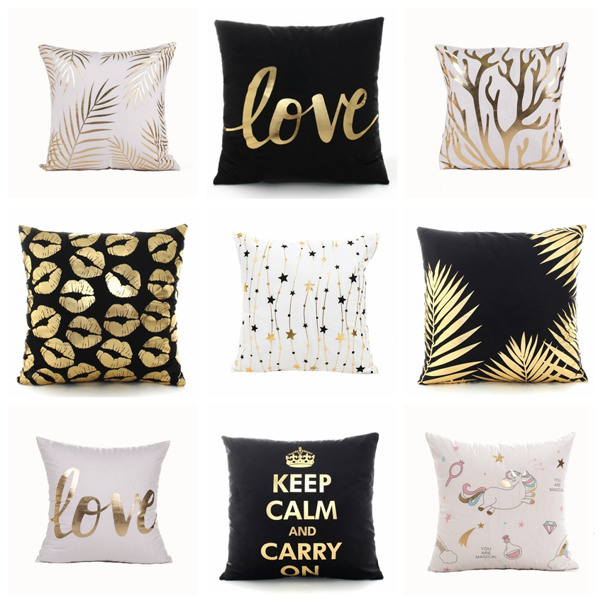 Golden Love Leaves Bronzing Cushion Decorative Pillow Black And White Velvet Pillowcase Home Decor Sofa Throw Pillows 17*17inch