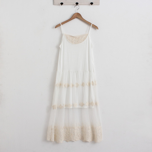New Mori Spaghetti Strap Lace Tulle Underdress Women Petticoat Sweet Summer Basic Dress