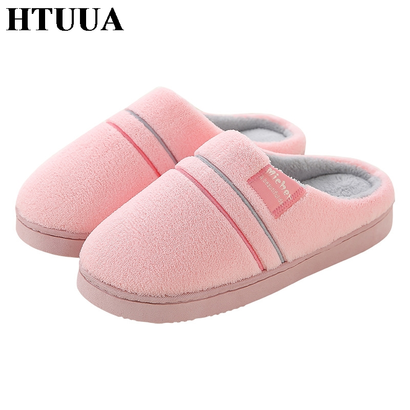 HTUUA Winter Slippers Cotton Couples Home-Shoes Plush Women Warm Antiskid Indoor SX1921