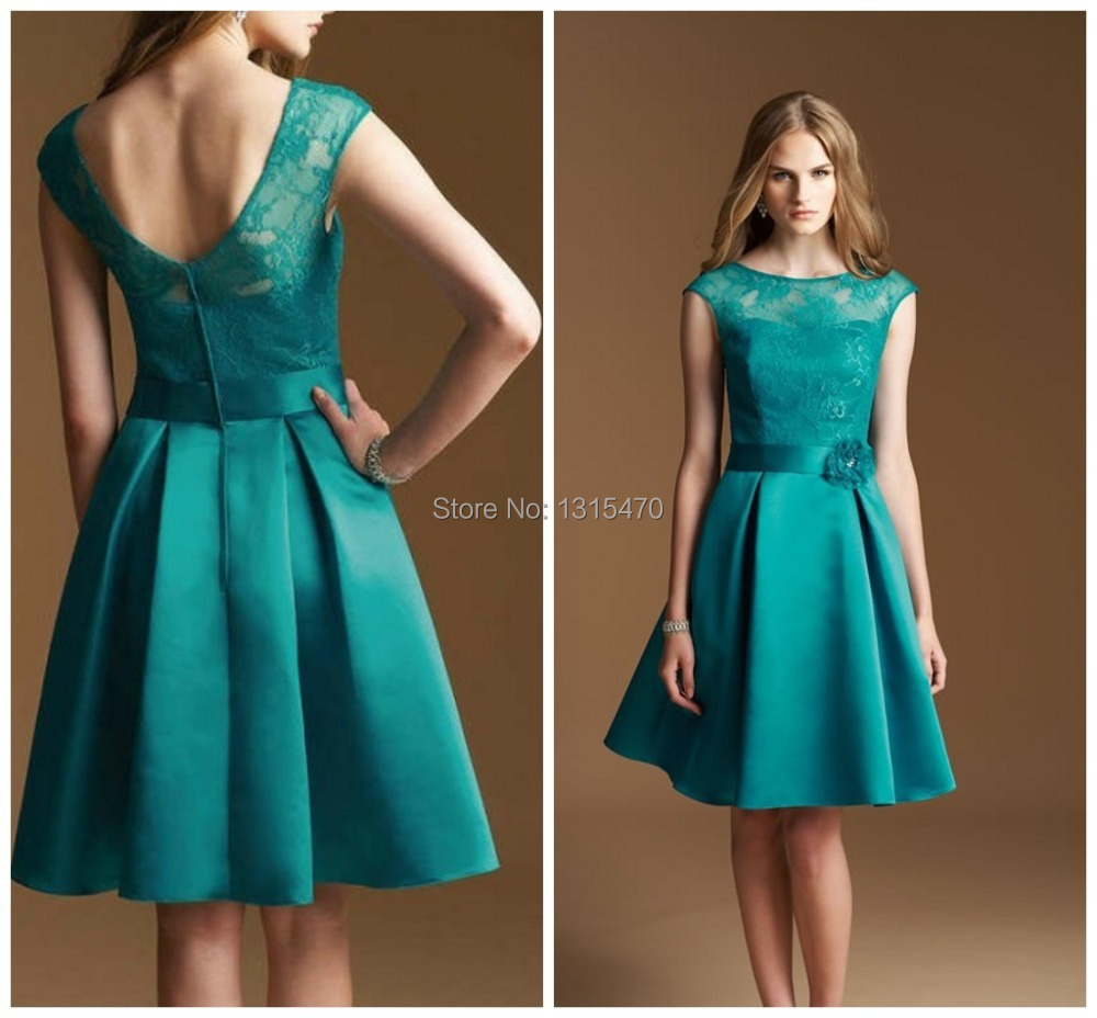Lace Cap Sleeve Bridesmaid Dresses Green High Quality Satin Open ...
