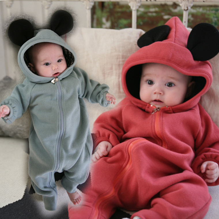 Baby Romper Warm Thick Cotton Mouse Hooded  Infant Winter Baby Clothes Solid Jumpsuit Unisex Zipper Winter Overalls for Kids unisex winter baby clothes long sleeve hooded baby romper one piece covered button infant baby jumpsuit newborn romper for baby