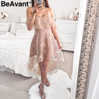 BeAvant Floral Print Mesh Ruffle Summer Dress Woman Sexy Strap Off Shoulder Female Dress Irregular High