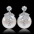 Julie 1.8x1.2 cm pérola jóia da forma com flor aaa cubic zircon brincos para as mulheres banhado a ouro brincos brinco pendientes