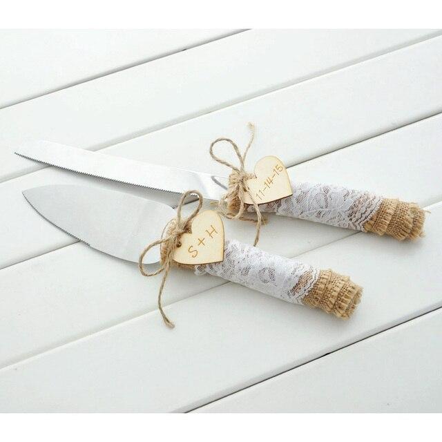 Customized Wedding Cake Serving Set, Personalized Rustic Wedding Cake Knife  And Server