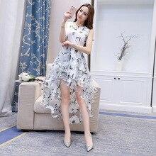 2019 New Summer Women printing Organza Dress White Fashion Sleeveless Elegant Slim Tulle Sexy Party Dresses vestidos