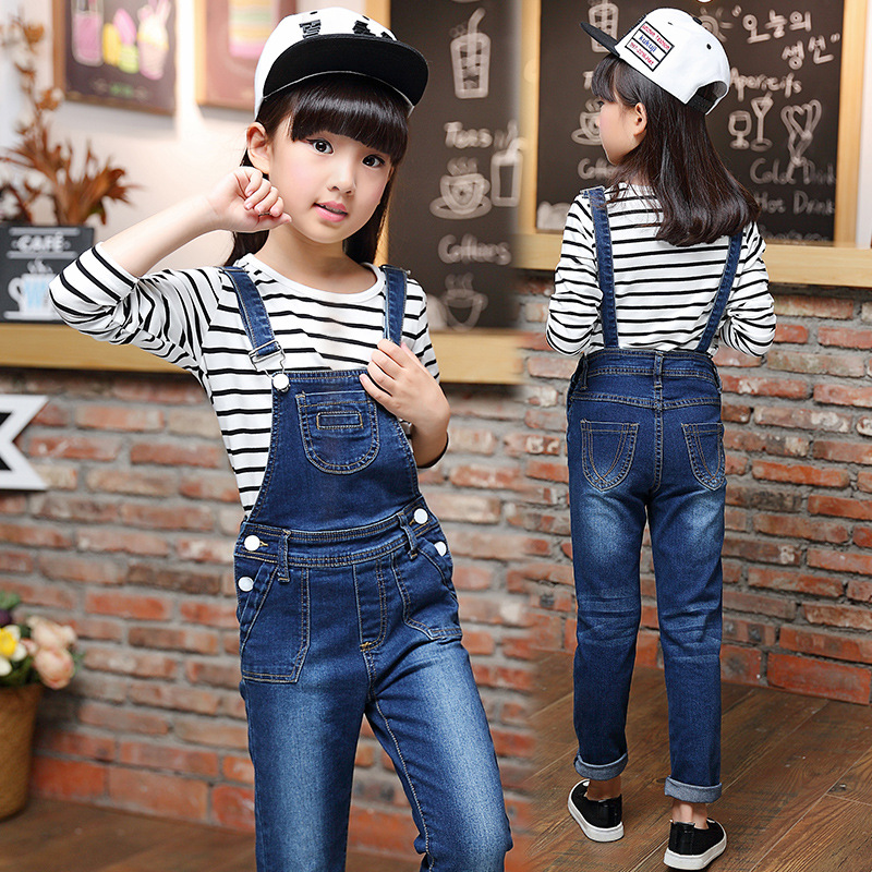 ФОТО 2016 new autumn baby girl jean sets kids denim clothes set long sleeve T-shirt +suspenders jean 2pcs fashion jean sets for girls