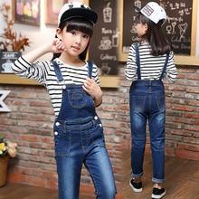 2016 new autumn baby girl jean sets kids denim clothes set long sleeve T shirt suspenders