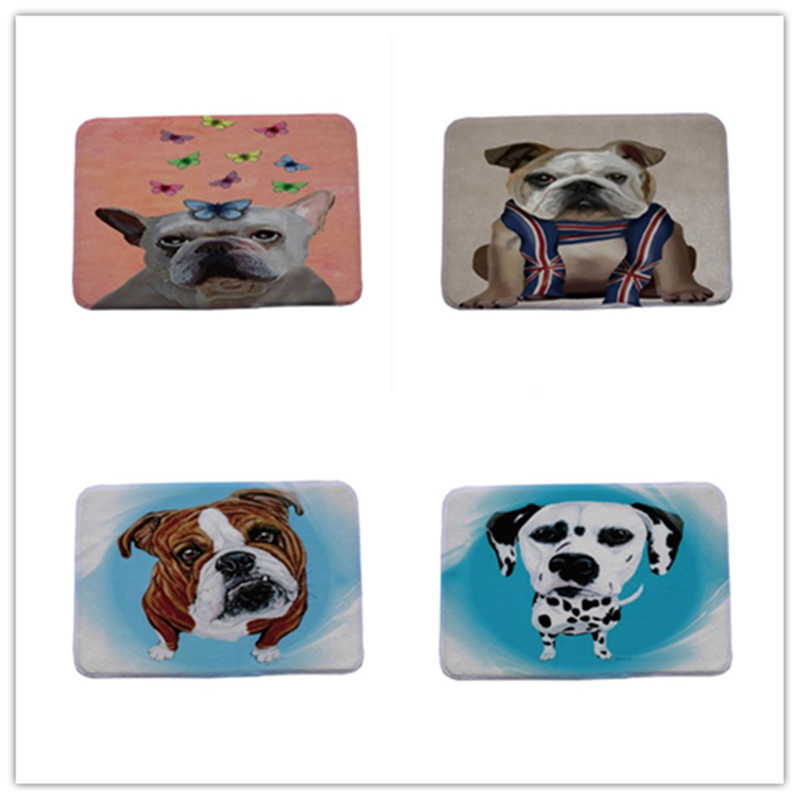 Cute Pug Spotty Dog Printing Carpet Stair Mats Anti-slip Floor Mat For Babies Animal Front Door Mat Bathroom Textiles