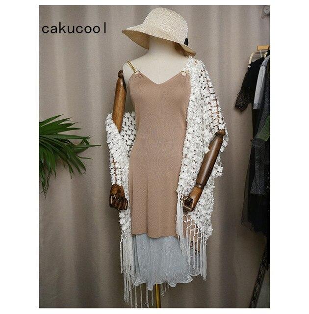 Cakucool Women White Lace Pearl Beading Open Stitch Summer Sun-proof Coat Tassels Bohemian Cardigan Gold Lurex Jacket CappaLady