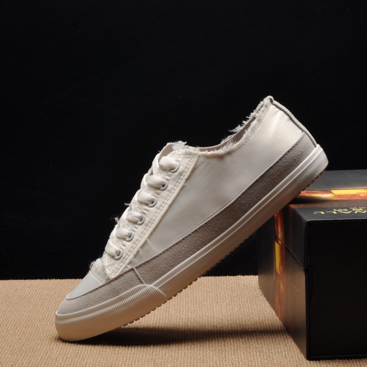 2018 summer new canvas shoes men's color matching casual men's shoes low to help tie three color.