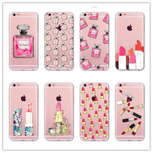 Lovely Girly Lipstick Perfume Makeup soft silicone tpu Phone Case For For Apple iPhone 5 5S 5C SE 6 6S 7 Plus 6SPlus