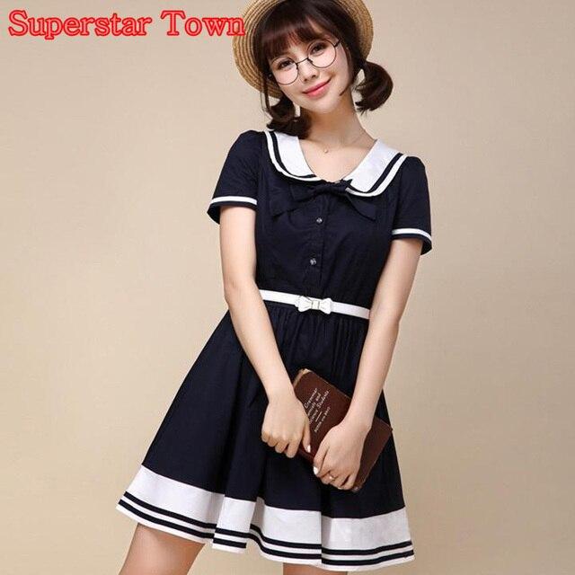 d057665cd vestidos mujer Chicas coreanas unifrm una línea dress vestidos verano  inicio escuela marinero dress con cinturón