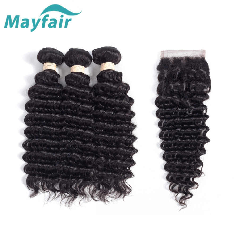 Mayfair Hair Brazilian Deep Wave Bundles With Closure Human Hair With Lace Closure 3 Bundles Deep Wave With Closure Remy Hair