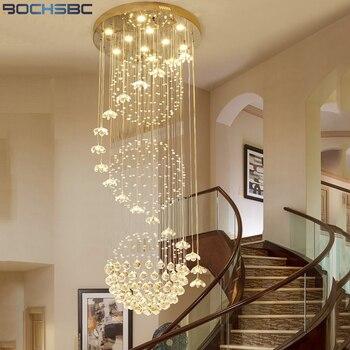 Bochsbc k9 lustres de cristal arte deco luminárias escadas suspensão villa luz para sala estar lâmpada do corredor