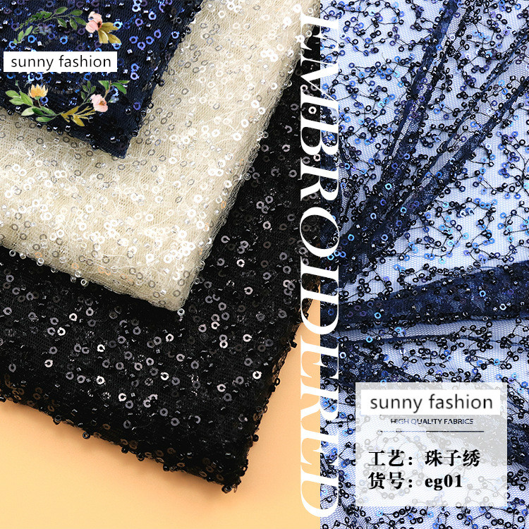 White blue black 3mm striped sequins embroidery lace fabric evening dress sequin lace fabric