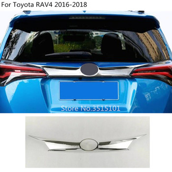 Car Styling Trunk Lid Cover ABS chrome Molding Rear back Door Tail Gate Trim Sticker 1pcs For toyota RAV4 2016 2017 2018