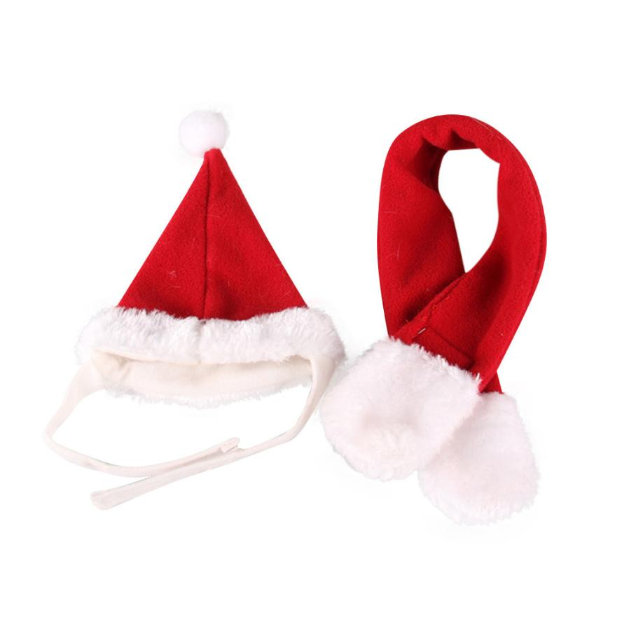 MOLAVE 2PCS Pet Cat Dog Santa Hat + Scarf Christmas Xmas Red Holiday Costume Apparel Drop Shipping Happy Sale ap706