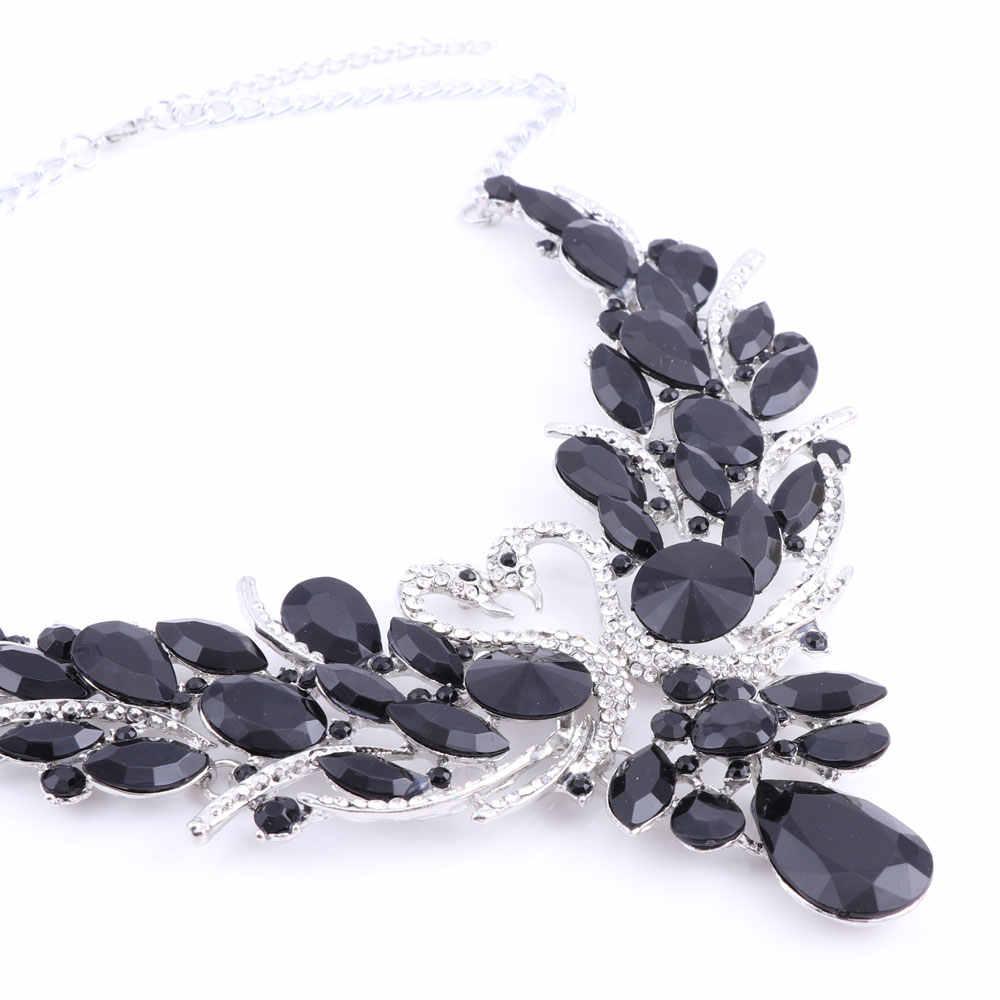 Свадебные ювелирные наборы, серебряный цвет, черный кристалл, подвеска в виде лебедя, ожерелье для женщин, подарок, вечерние, на свадьбу, выпускной, ожерелье, серьги, аксессуары