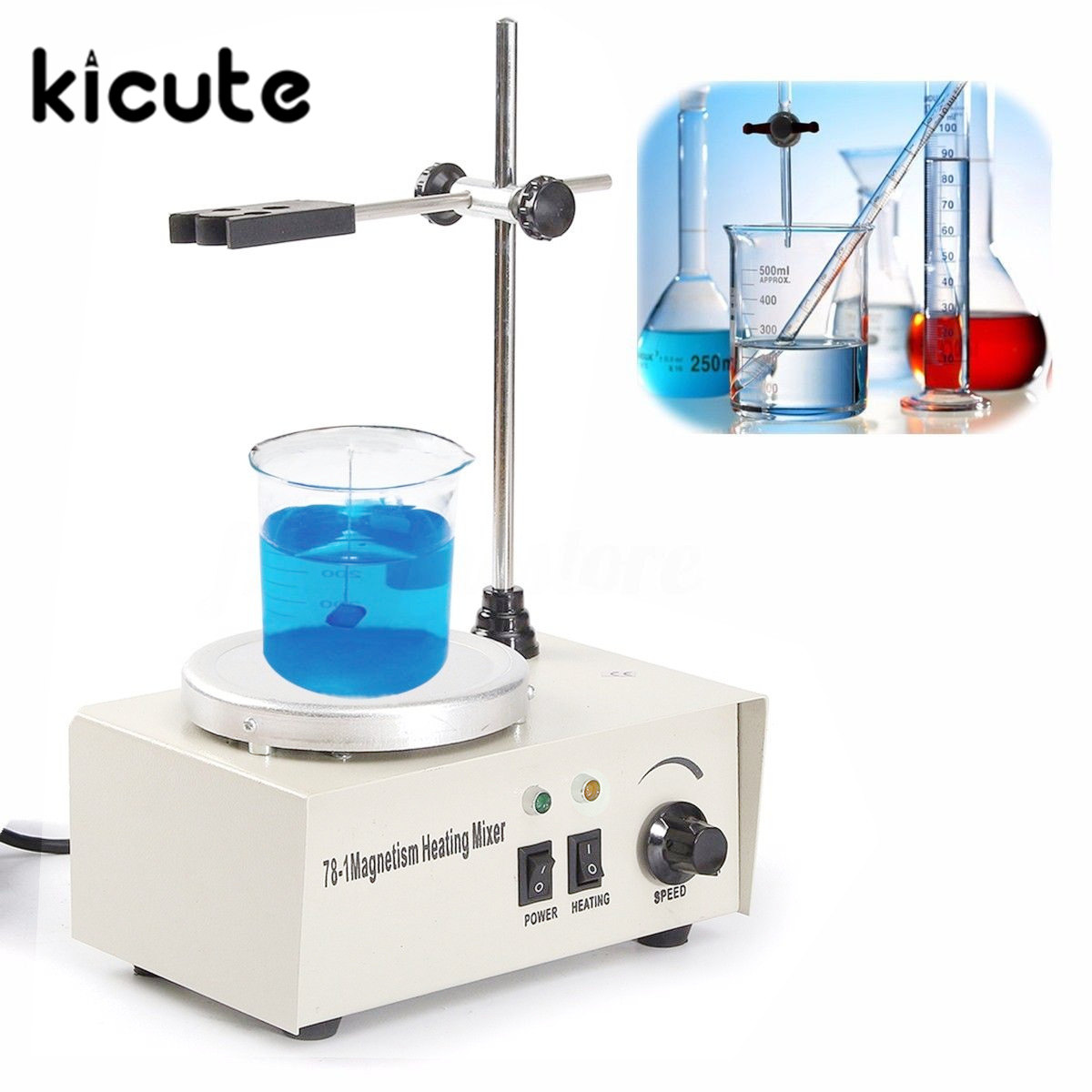 KiCute Laboratory Heating Equipment 1000ML Lab Magnetic Stirrer With Heating Plate Hotplate Mixer 110V Temperature Dispaly