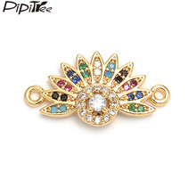Pipitree Multi Sun Charm Big Clear CZ Trendy Charms for Jewelry Making Bracelets Necklaces Women Colorful Zircon Brass Connector(China)