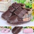 Classic Niños Baby Kids Boy Chicas Zapatos de Piso Moda Otoño PU de LA Tela Escocesa Suave Antideslizante Toddlers Primeros Caminante