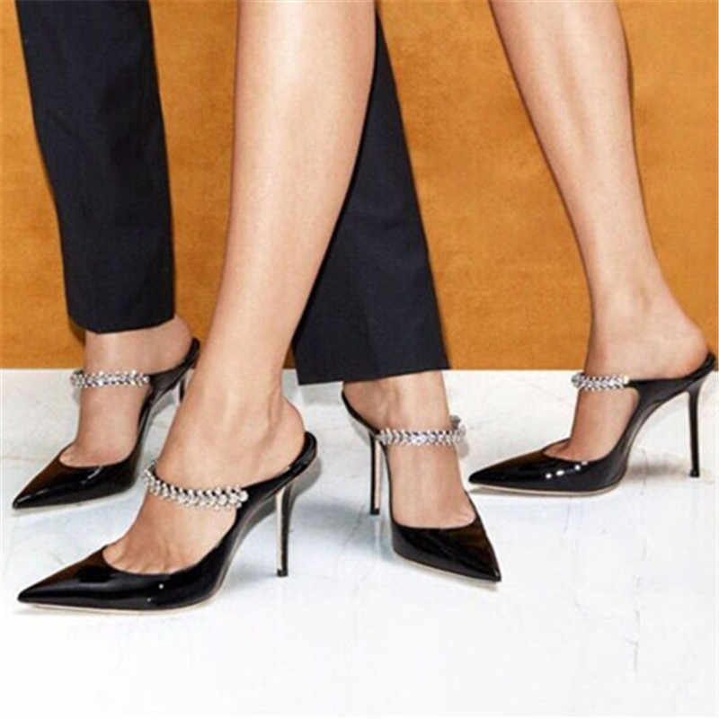 Black Patent Leather Mules Crystal