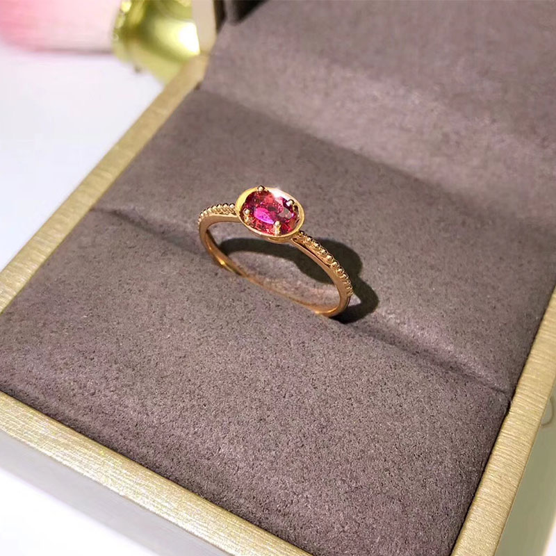 ANI 18K Rose Gold (AU750) Engagement Women Ring Certified Oval Cut Tourmaline Fashion Ring for Women Anniversary Gift authentic au750 rose gold cross ring fashion cute casual ring 1 08 1 15g