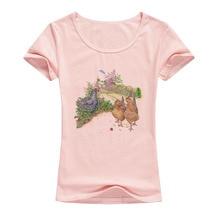 2017 New Arrival Chicken Printed T Shirt Women summer fashion elastic cotton tops cartoon casual short sleeves tees A007