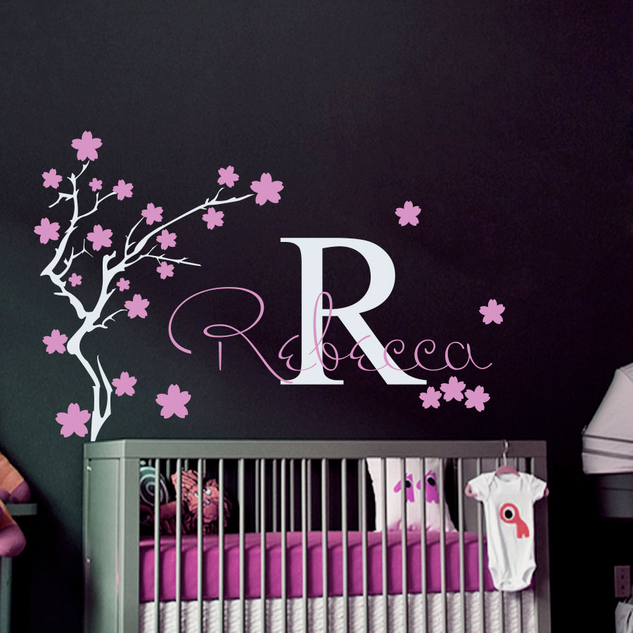 Girls name and initial wall decal home girls bedroom flower tree decorative wall sticker diy kids bedroom personalized artw 378 in wall stickers from home