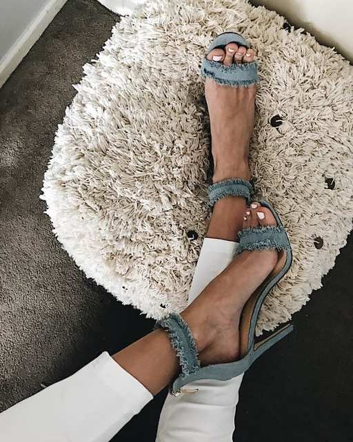 d580e37bc Fashion Blue Jean Women Sandals Thin High Heel Denim Open Toe Retro Pumps  Ankle Buckle Single Strap Shoes Hot Selling Footwear-in High Heels from  Shoes on ...