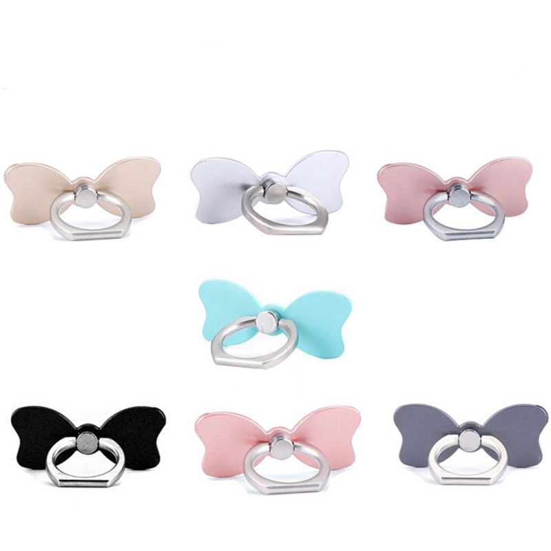 Reusable Bow Tie Finger Ring Smartphone Stand Holder Mobile Phone Holder Stand For iPhone iPad Huawei All Smart Phone