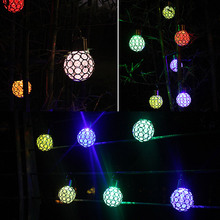 Solar LED Hanging Light Lantern Waterproof Hollow Out Ball Lamp for Outdoor Garden Yard Patio _WK