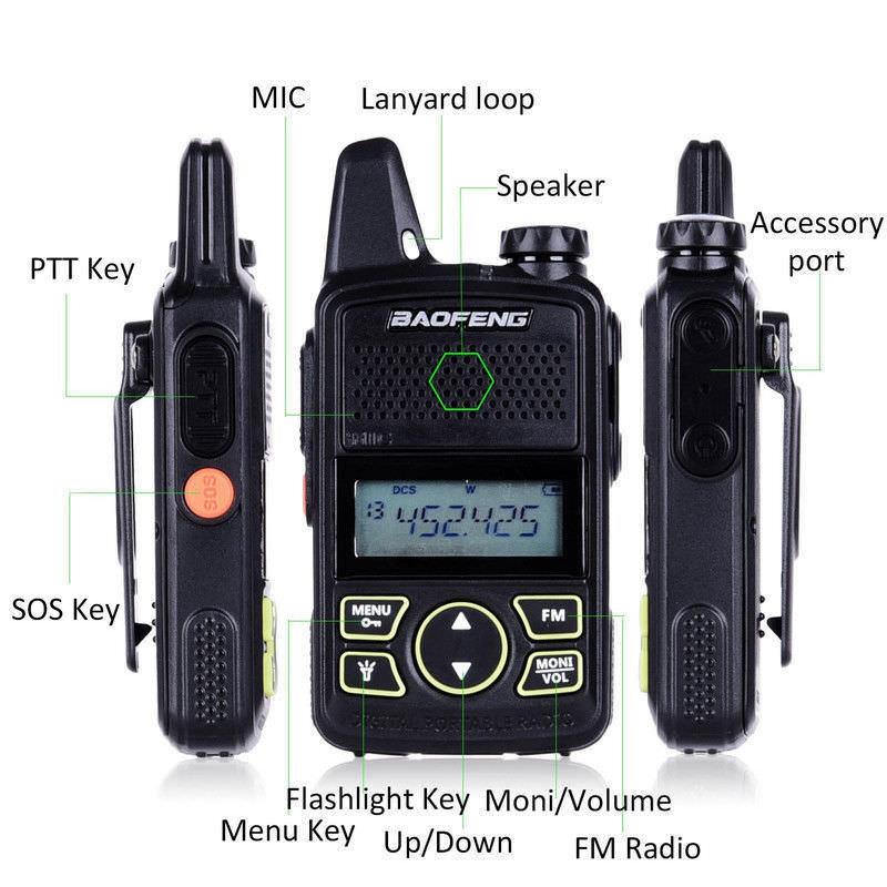 2 X Walkie Talkie BF T1 MINI Radio UHF 400 470MHz FM Transceiver With PTT Earpiece
