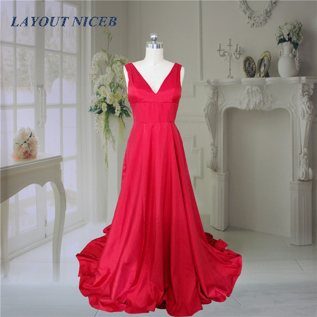 92460381596 2017 New Long Red Prom Dresses A-Line V-Neck Sleeveless Off The Shoulder  Open Back Sweep Train Prom Party Dress Formal Gowns