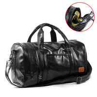 GYKZ Men Leather Travel Duffle Bag Women Sport Gym Handbags Large Capacity Fitness Shoulder Bag Independent Shoes Pocket HY267