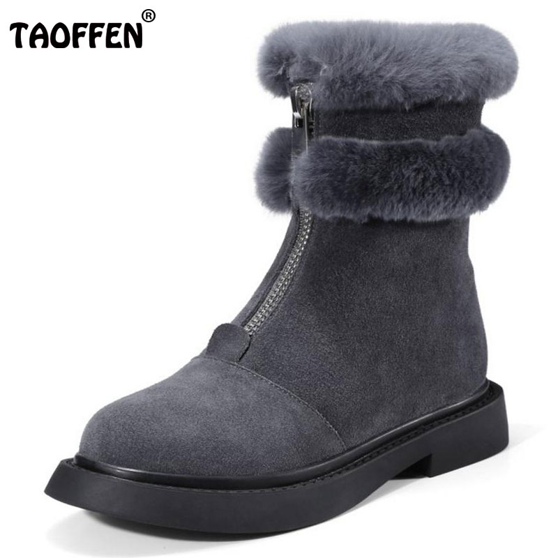 TAOFFEN Ladies Real Leather Med Heel Ankle Boots Women Platform Zipper Shoes Woemn Winter Plush Warm Fur Botas Size 34-39 2016 rhinestone sheepskin women snow boots with fur flat platform ankle winter boots ladies australia boots bottine femme botas