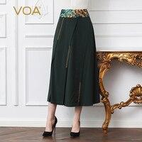 Voa шёлковый Армейский зеленый пачка длинная юбка для женщин; Большие размеры 5XL линии юбка Office Basic Повседневное Винтаж Модные женские Весна