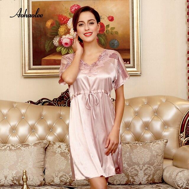 adb90ca97d AOHAOLEE Silk Robe Women Sexy Sleepwear Dress Short Sleeves Nightgowns Home  Sleepshirts V-neck Lace Summer Sleepshirts Nightwear