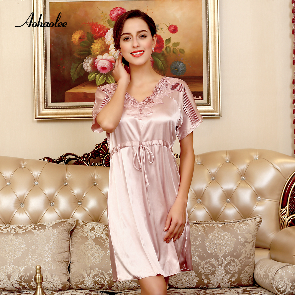 AOHAOLEE Silk Robe Women Sexy Sleepwear Dress Short Sleeves   Nightgowns   Home   Sleepshirts   V-neck Lace Summer   Sleepshirts   Nightwear