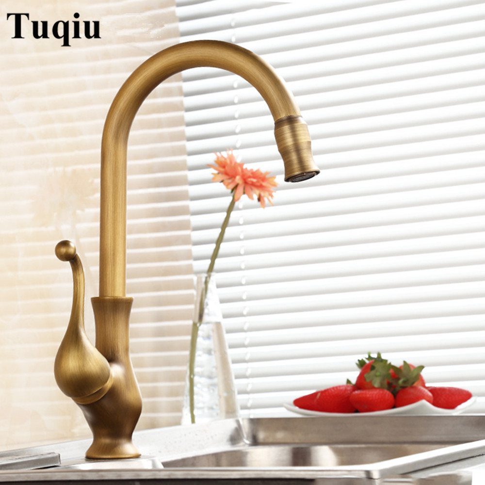 Kitchen faucet, all copper antique kitchen faucet, hot and cold wash vegetable basin faucet, single hole rotary tank faucet 2015 new arrival kitchen faucet tap fashion copper antique and porcelain counter basin hot cold faucet vintage wash single hole