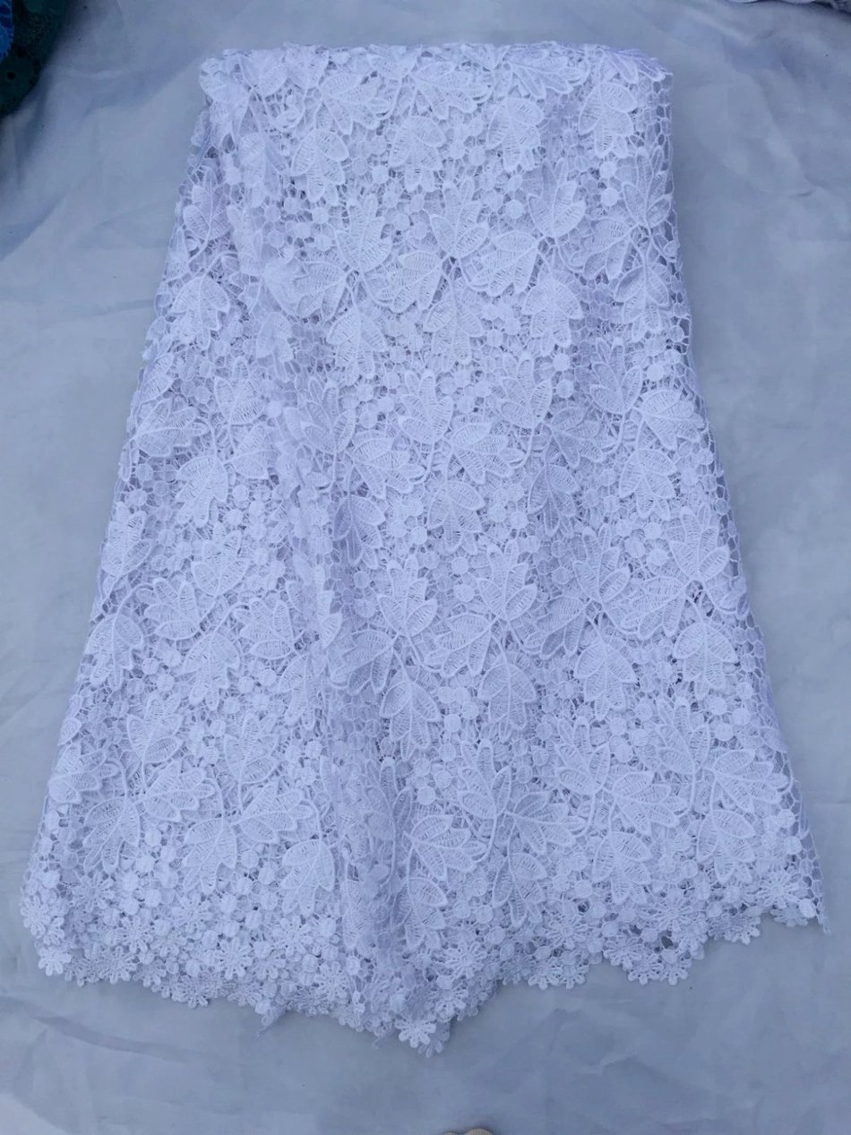 white african lace fabrics 5yard snow white guipure lace fabric 2017 high quality african cord lace